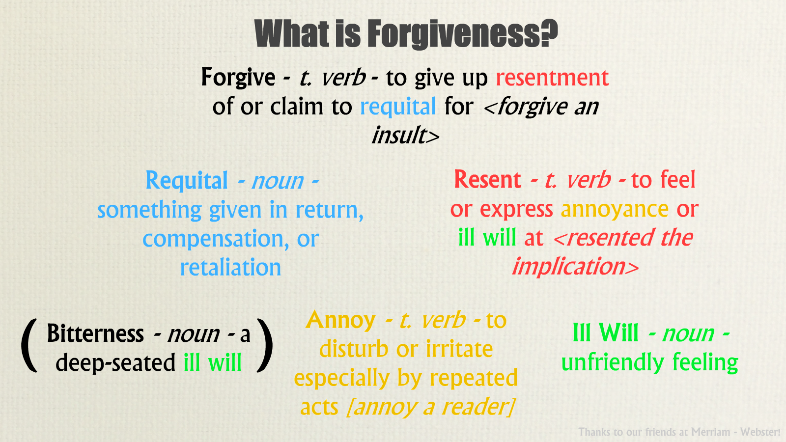 forgiveness definition essay Forgiveness is a very important thing i believe in because it doesn't feel good to hate or even just dislike someone strongly click here to read her essay.